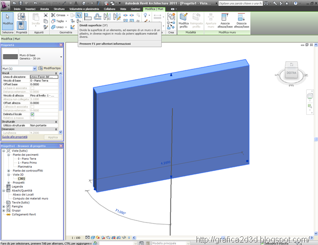Tutorial revit comando dividi e colora superficie