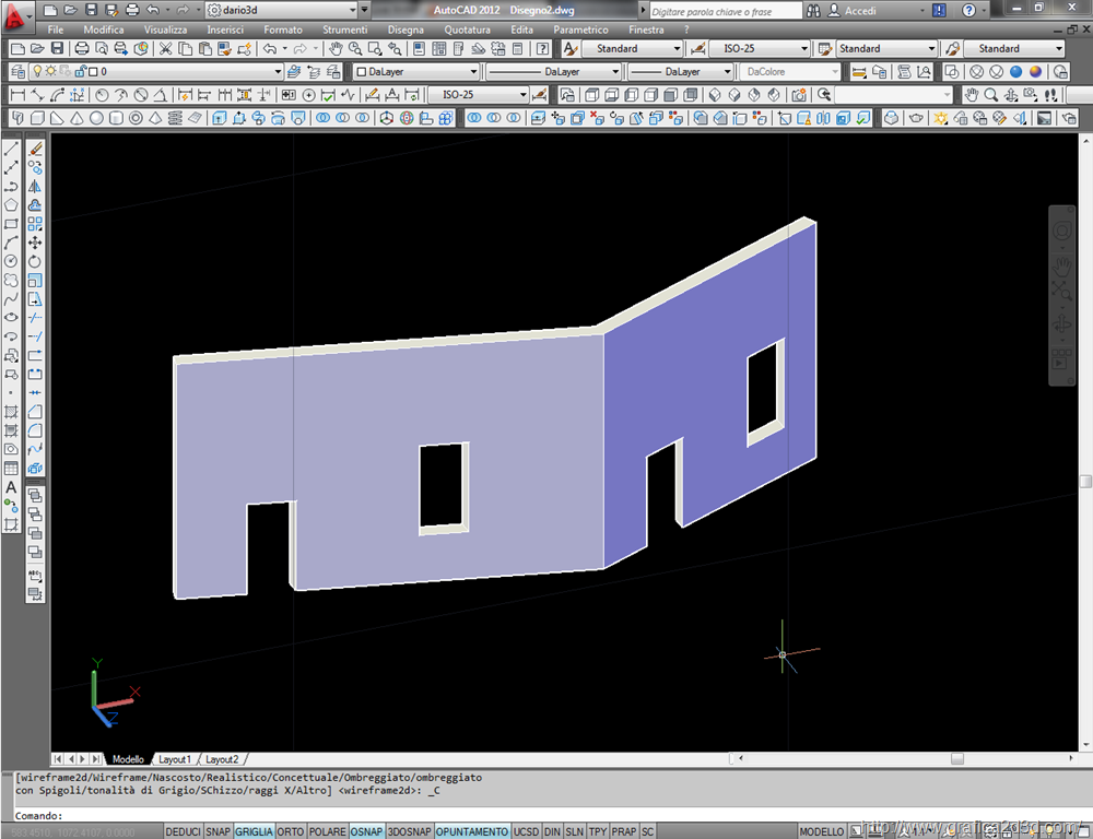 Autocad : crea un prospetto partendo da un 3d con solprof