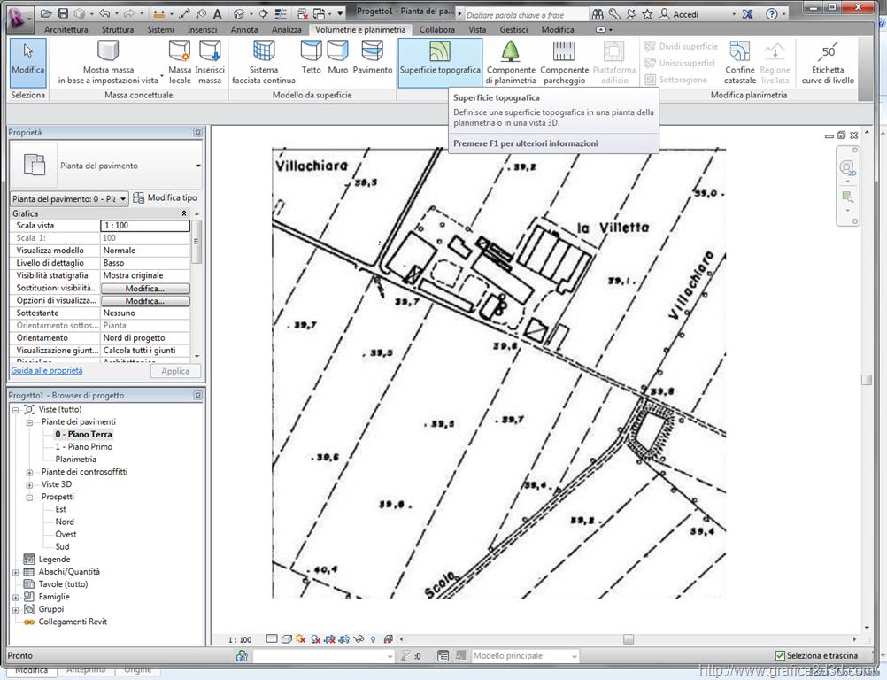 Modellare un terreno con revit con punti quotati