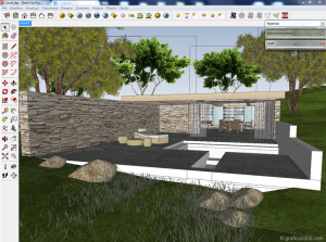 Making of  sketchup  vray  stone house 02