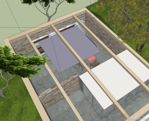 Making of  sketchup  vray  stone house 17