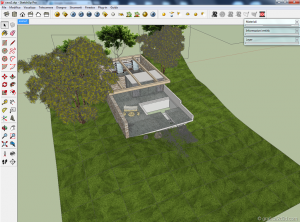Making of  sketchup  vray  stone house 04