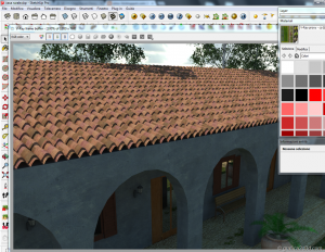 Tutorial tegole tetto displace vray sketchup 08