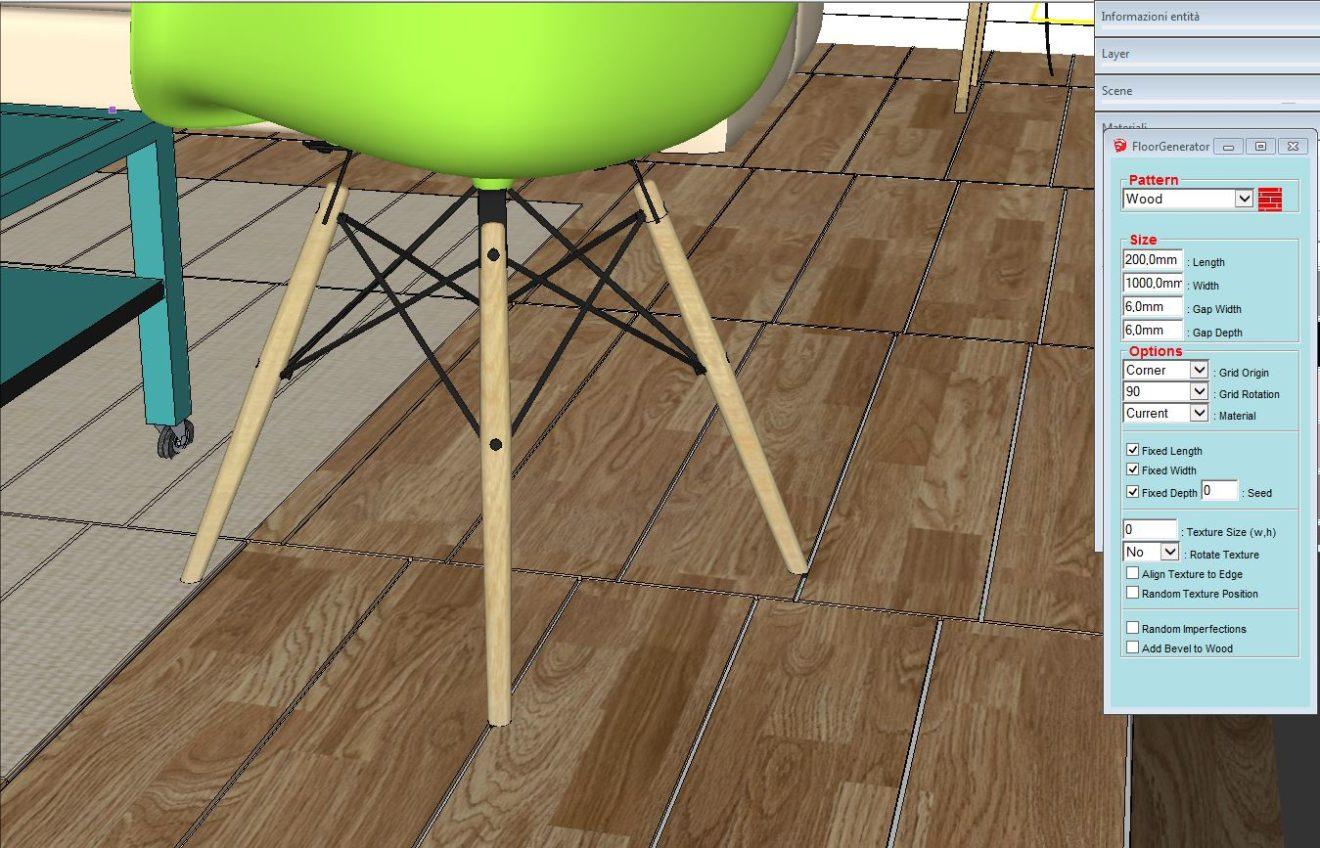 Plugin sketchup floorgenerator per creare pavimentazioni d