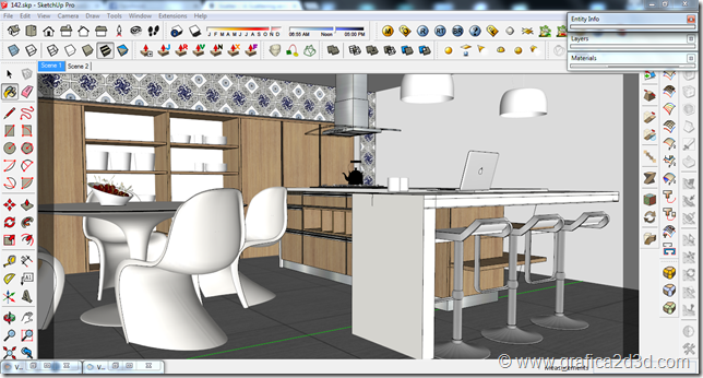 Interior vray sketchup kitchen #142
