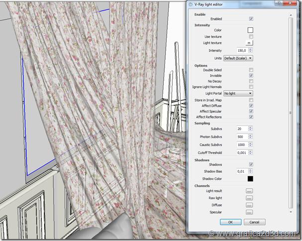 Vray sketchup tutorial scena interno 131