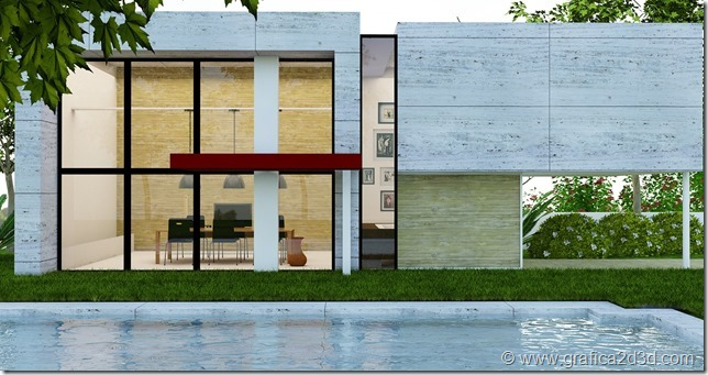 House B. vray shetchup exterior