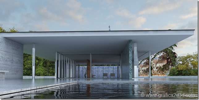 Vray sketchup Padiglione di Barcellona di  Mies van der Rohe