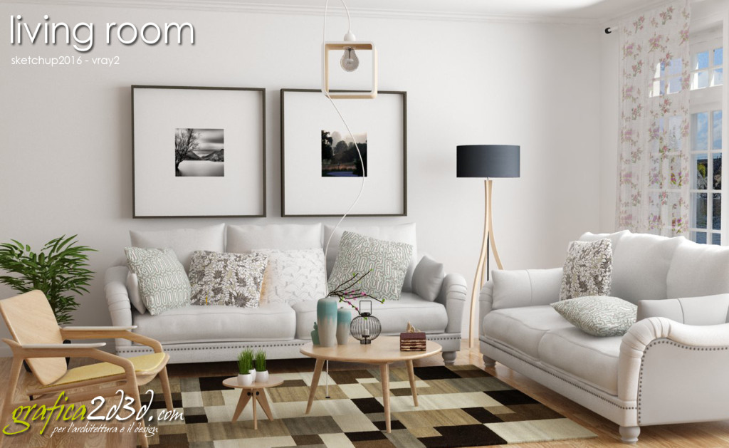Living room House P. sketchup vray