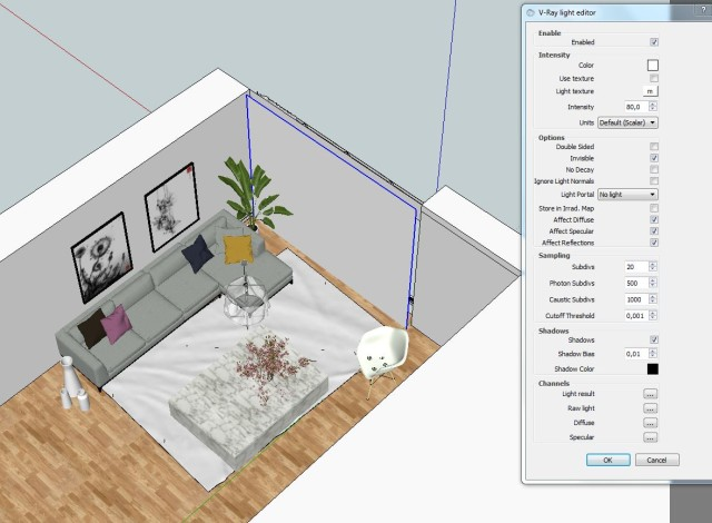House F. sketchup 2016 vray 2 setting interior