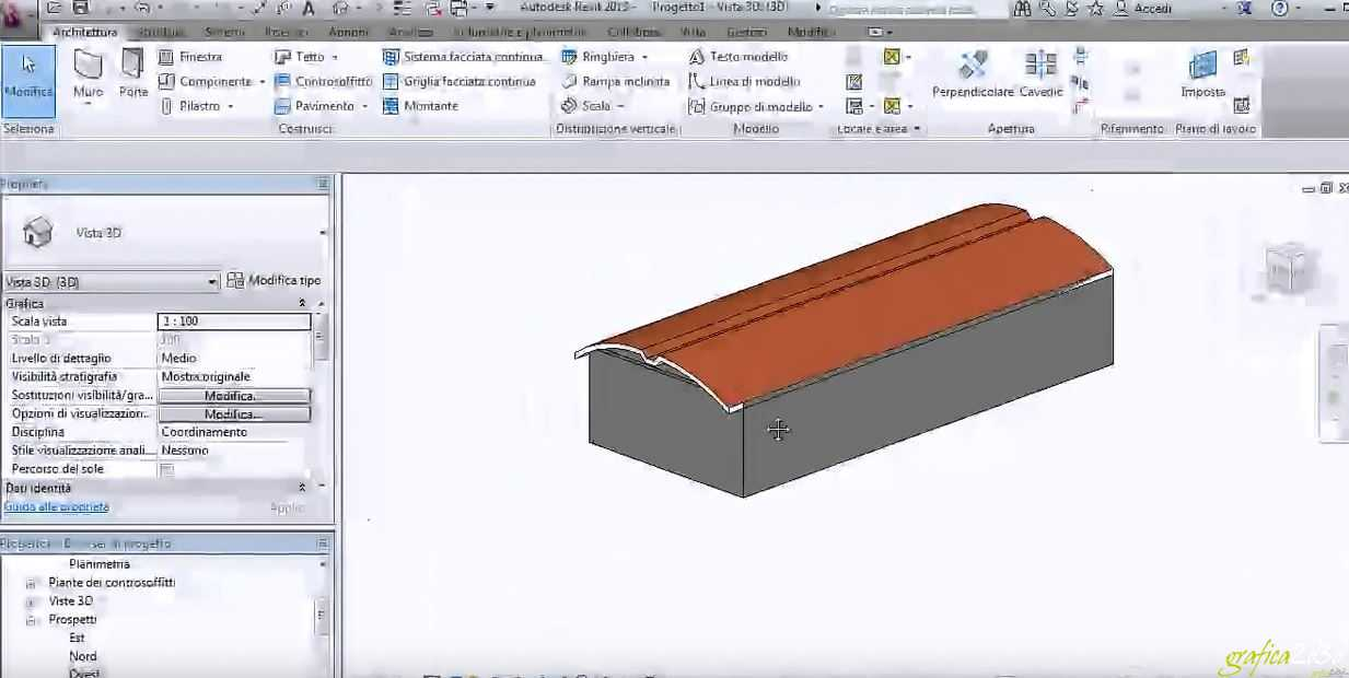 Come creare in revit un tetto da estrusione