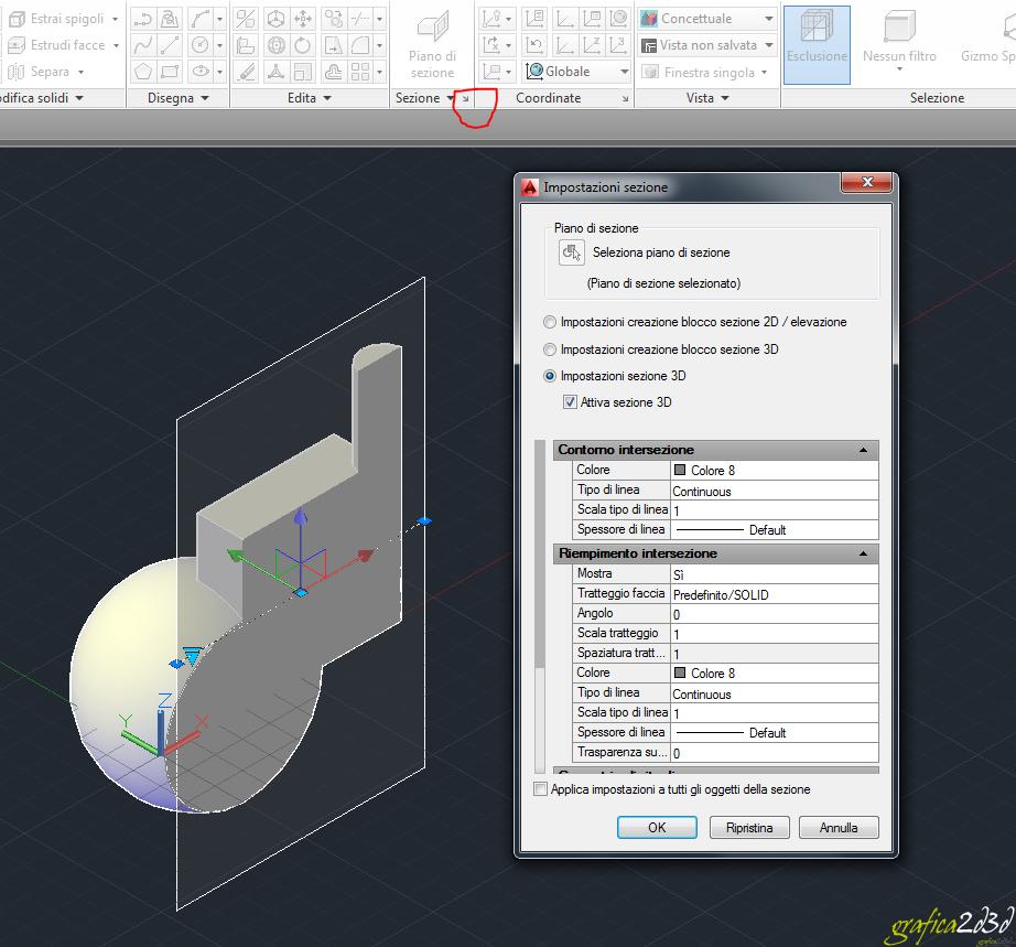 Come creare una sezione di un 3d autocad