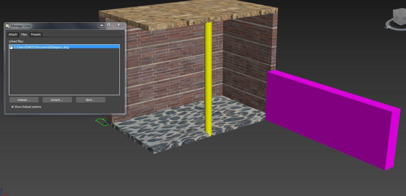 Importa da autocad a 3d studio con link autocad