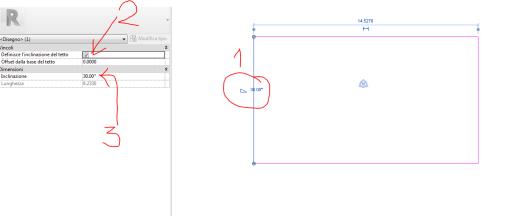 Creare un tetto a falde in revit assegnando un angolo di ...